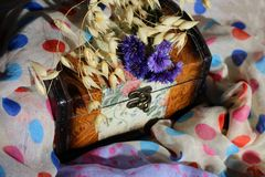 Vintage box with retro painting on spotted fabric with flowers royalty free stock image