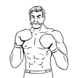 Vintage boxer fighter coloring book vector. Vintage boxer fighter with mustache coloring book vector illustration. Comic book style imitation Royalty Free Stock Photo