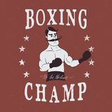 Vintage boxer label. Boxing label with boxer.Prints design for t-shirts Royalty Free Stock Image