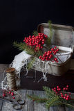 Vintage boxes for Christmas gifts with red berries and pine twigs Stock Photography