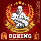 Vintage boxing emblem, label, badge, logo and designed elements. Royalty Free Stock Image
