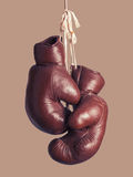 Vintage boxing Gloves, hanging Stock Images