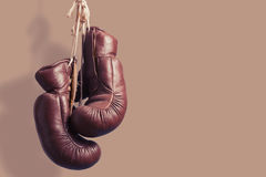 Vintage boxing Gloves, hanging Stock Image