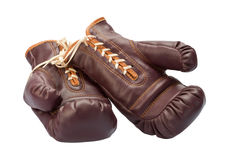Vintage Boxing Gloves isolated on white Royalty Free Stock Photo