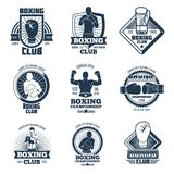 Vintage boxing sports club vector labels and badges Stock Photos