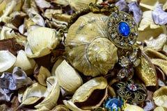 Vintage bracelet on the background of seashells. royalty free stock photo