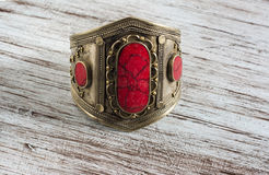 Vintage bracelet with coral stone Royalty Free Stock Images