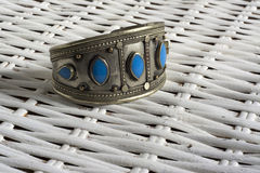 Vintage bracelet with turquoise stone Stock Photography