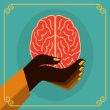 Vintage brain idea in hands Royalty Free Stock Image