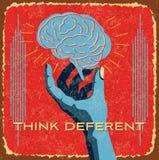 Vintage brain idea in hands Stock Images