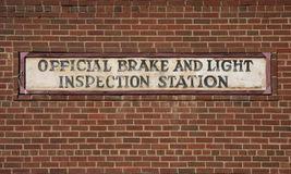 Vintage brake and light inspection sign Stock Images