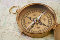 Vintage brass compass Stock Images