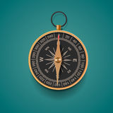 Vintage brass compass,  background Stock Photos