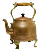 Vintage brass and copper kettle isolated. Vintage handmade hot water kettle made from brass and copper royalty free stock image