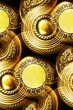 Vintage brass door knobs. As abstract background Stock Photos