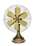 Vintage brass fan. Isolated on a white background Stock Photos