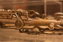 Vintage Brass Flute closeup Stock Photo