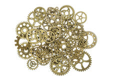 Vintage Brass Gears Macro Isolated on White Royalty Free Stock Photography