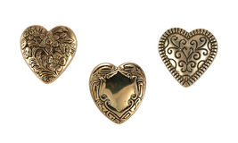 Vintage Brass Hearts Stock Photos