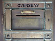 Vintage Brass Letter Box. Vintage brass letter, mail, post box at Sydney GPO, main post office, Australia Stock Photo