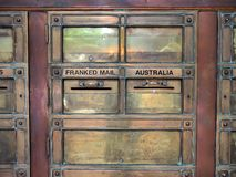 Vintage Brass Letter Boxes. Vintage brass letter, mail, post boxes at Sydney GPO, main post office, Australia Stock Photos