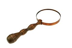Vintage Brass Magnifying Glass Stock Photo