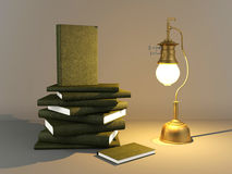 Vintage brass metal gas lamp and pile of books. 3D render old style gas lamp and pile of books in dark room Stock Image