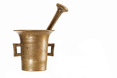 Vintage brass mortar. Isolated on white background stock photo
