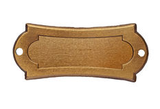 Vintage brass name plate. Over white, clipping path, space for your text stock photography