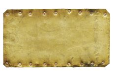 Vintage brass plaque. Isolated on white background royalty free stock photo