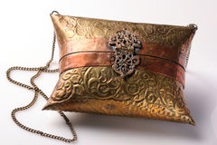 Vintage Brass Purse on White Background Stock Photography
