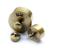 Vintage brass scale weights Royalty Free Stock Photos