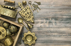 Vintage brass table ware antique kitchen utensils Royalty Free Stock Photography