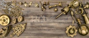 Vintage brass table ware. Kitchen table Stock Photos
