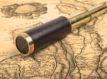 Vintage brass telescope Royalty Free Stock Photos