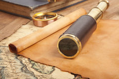 Vintage brass telescope Royalty Free Stock Photography