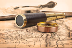 Vintage brass telescope Royalty Free Stock Photo