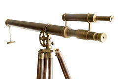 Vintage brass telescope  isolated Stock Photos