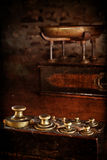 Vintage brass weights Stock Photo