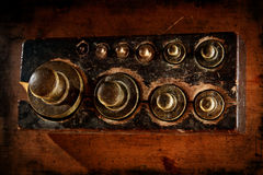 Vintage brass weights Stock Images