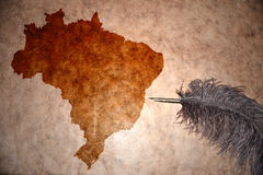 Vintage Brazil map. Brazil map on vintage paper with old pen royalty free stock photo
