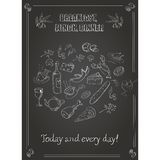 Vintage  breakfast, lunch and dinner  poster with Stock Image