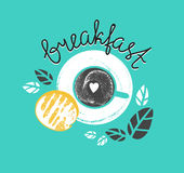 Vintage Breakfast Poster with cup of coffee and toast. Vector illustration with stylish lettering. Stock Photos