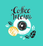 Vintage Breakfast Poster with cup of coffee and toast. Vector illustration with stylish lettering. Royalty Free Stock Images