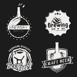 Vintage brewery (brewing) icons,. Vector set of vintage brewery (brewing) icons, craft beer badges and labels Stock Photography