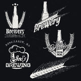 Vintage brewery (brewing) labels. Craft beer emblems, badges, icons, logotypes on dark background. Detailed brewer malt. Vector illustration Stock Image