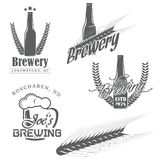 Vintage brewery labels. Vintage brewery (brewing) labels, craft beer emblems, badges, icons, logotypes. Detailed brewer malt. Vector illustration Stock Photos