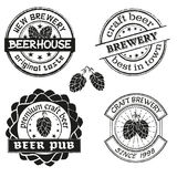 Vintage brewery logo, emblems and badges vector set. Collection of vintage brewing company labels. Royalty Free Stock Images