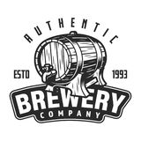 Vintage brewery logo template. With beer wooden barrel and inscriptions isolated vector illustration stock illustration
