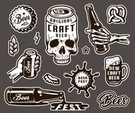 Vintage brewing monochrome elements collection vector illustration